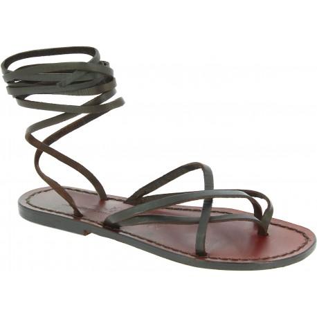 Womens tiras de cuero hecho a mano en Italia sandalias en cuero marrón oscuro