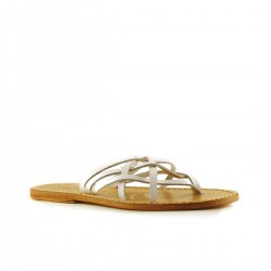 Handmade womens slide in white leather strips thongs with leather sole
