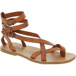Herren-Sandalen im Gladiator-Stil aus Leder Lederbarbig in Italien von Handgefertigt