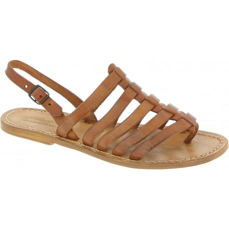 Sandals tongs femme en cuir coulor cuir pas cher