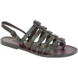 Sandalias en cuero marrón oscuro para mujere hechas a mano en Italia