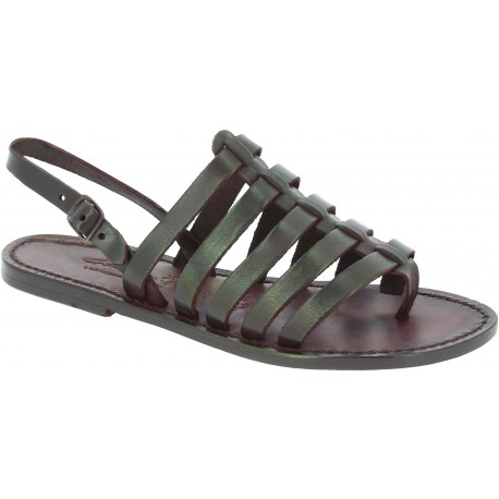 Sandals tongs femme en cuir coulor marron pas cher