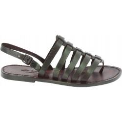 Sandals tongs femme en cuir coulor marron pas cher