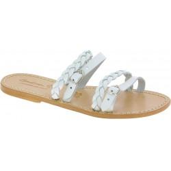 Handgefertigte Damen-Slippersandalen aus weiße Leder