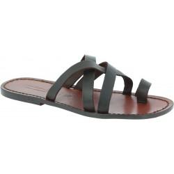 Herren Flip-Flop-Sandalen aus Leder in Italien von Hand gefertigt