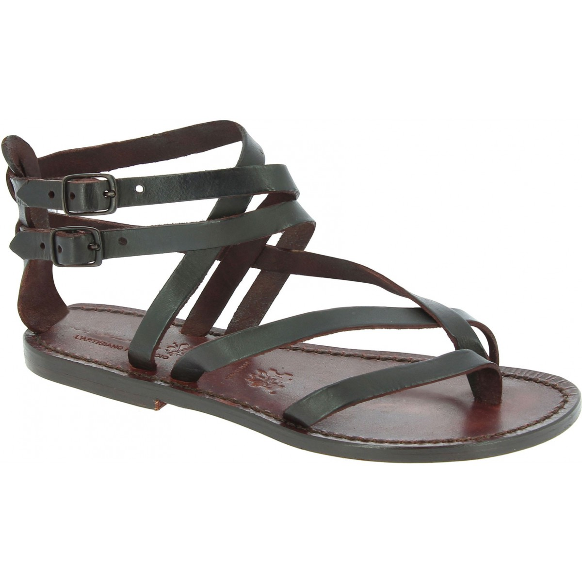 low priced 1a23d 83151 Flache Hand gefertigte Damen-Sandalen mit Riemchen aus dunkelbraunem Leder
