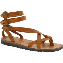 Sandales gladiateur en cuir marron claire semelle caoutchouc épaisse