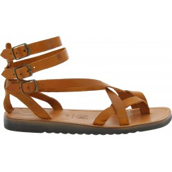 Tan leather men's gladiator sandals with thick rubber sole