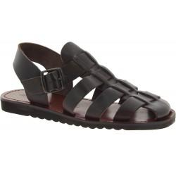 Franziskaner-Sandalen für Männer aus dunkelbraunem Leder in Italien von Hand gefertigt