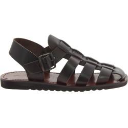 Sandales religieux homme en cuir marron foncé artisanales