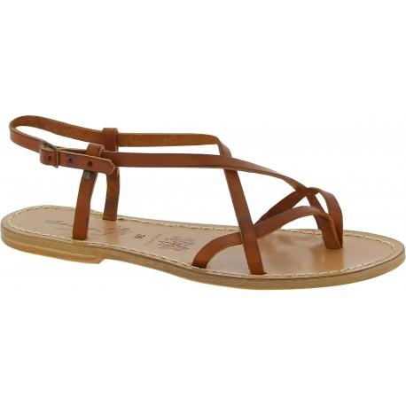 Sandali da donna in pelle color cuoio fatti a mano