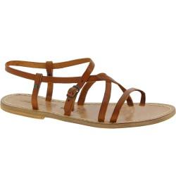 Sandales plates pour femme en cuir marron travaillé à la main en Italie