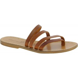 Handmade tan leather flip flop sandals for women