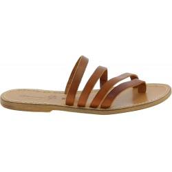 Handmade tan leather flip flop sandals for women