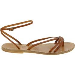 Sandalias flipflop para mujeres en cuero marrón hechas a mano en Italia