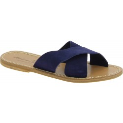 Blu nubuck leather slide sandals for women handmade