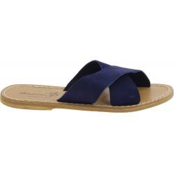Sandalias de cuero nobuck azul para mujeres hecho a mano