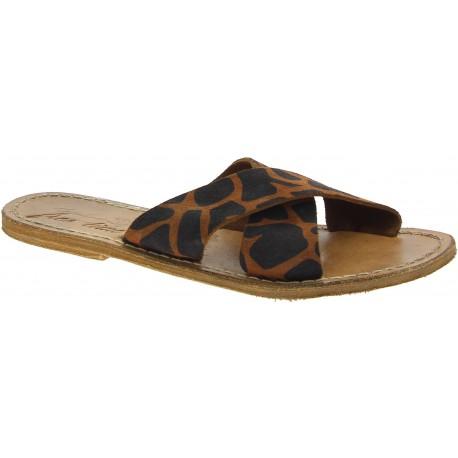 Giraffe pattern nubuck leather slide sandals for women handmade