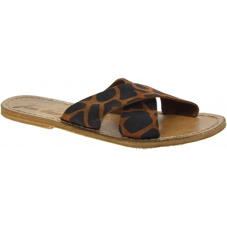 Handgemachte Giraffendruck Nubuk gekreuzte Lederpantoffeln für Damen