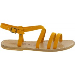 Ocher nubuck leather sandals hand made in Italy