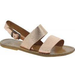 Sandales plates en cuir laminé cuivré à imprimé python