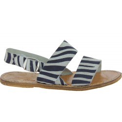 Women's flat sandals in nubuck leather zebra printed