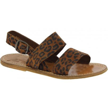 Women's flat sandals in nubuck leather leopard printed