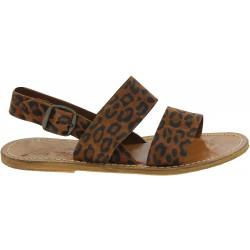 Flache Sandalen für Damen aus Leopard-Nubukleder