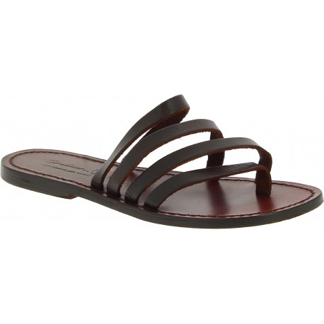 Handmade brown leather flip flop sandals for women