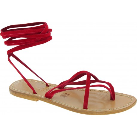 Spartiates sandales en nubuk rouge artisanales fait en Italie