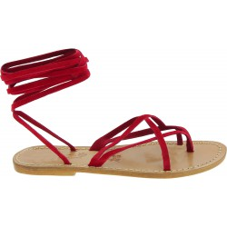 Red nubuck flat strappy sandals for women handmade in Italy