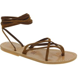Hazelnut nubuck flat strappy sandals for women handmade in Italy