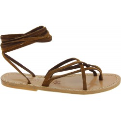 Hazelnut nubuck flat strappy sandals for women handmade in Italy