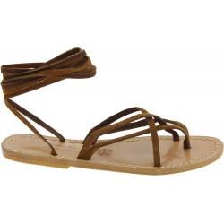 Spartiates sandales en nubuk noisette artisanales fait en Italie