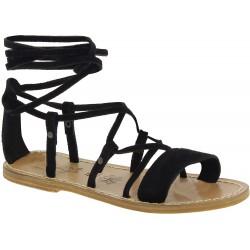 Sandali gladiatore donna in pelle nabuk nero fatti a mano