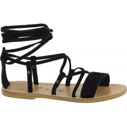 Sandales spartiate femme en nubuck noir artisanales