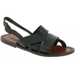 Brown leather franciscan sandals for women handmade in Italy