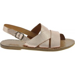 Franciscan sandals in copper laminated leather with lizard print