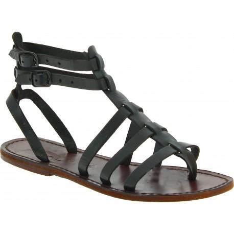 Spartiate marron sandales pour femme en cuir travaillé à la main en Italie