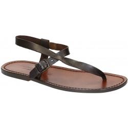 Sandali infradito in cuoio marrone artigianali