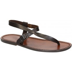 Sandalias de cuero marrón para hombres