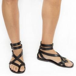 Sandalias gladiador hombre en piel negro hechos a mano en Italia