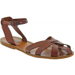 Handmade tan flat sandals for women real italian leather