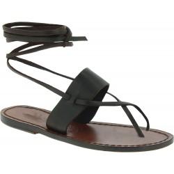 Sandales spartiates en cuir marron pour femme
