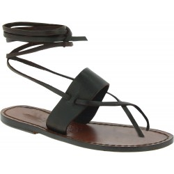 Brown leather strappy sandals Handmade in Italy
