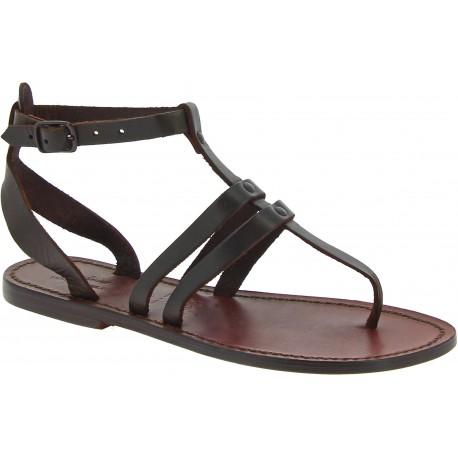 Damen-Riemchen-Sandalen aus dunkelbraunem Leder