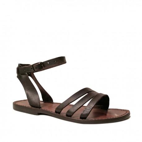Damen-Sandalen im Franziskaner-Stil aus braunem Leder in Italien von Hand gefertigt
