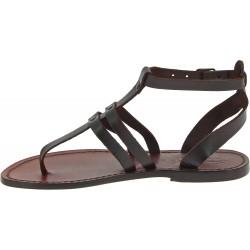 Tongs sandales pour femme en cuir marron foncé