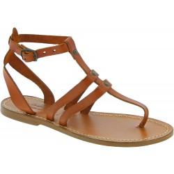 Sandalias tira en cuero marrón hecha a mano en Italia