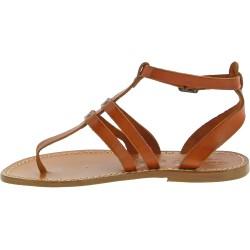 Tongs sandales pour femme en cuir marron